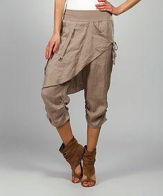 Look at this Mole Rosy Skirted Linen Harem Pants Afro Punk Fashion, Boho Fashion, Fashion Outfits, Fashion Styles, Ropa Shabby Chic, Harlem Pants, Denim Earrings, Boho Pants, Linen Pants