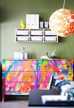 1 IKEA TARVA Dresser, 25 Different Ways | Apartment Therapy - Graffiti dresser from IKEA