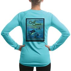 Vintage Angler Marlin Gulf Coast Womens UPF Long Sleeve TShirt Medium Water Blue -- Learn more by visiting the image link.