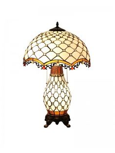 """Stained Glass Base And 16"""" Shade Tiffany Traditional Table Lamp. Each Tiffany lamps from ParrotUncle is handmade by skilled craftsmen, not mass- or machine-produced. All stained leaded glass lampshades are designed in particular drawing. Cut the glass, smooth them and assemble with handwork. Hand formed steel frames looks antique, adding a touch of elegance and timeless atmosphere to any room."""