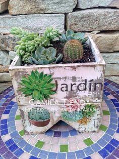 Shaby Chic, Craft Box, Reuse, Terrarium, Stencils, Succulents, Planter Pots, Decorative Boxes, Diy Crafts