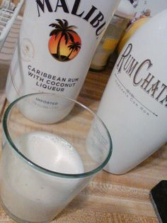 Equal parts of Malibu Coconut Rum & Rum Chata. It is amazing. Tastes like Coconut Cream Pie, nearly.
