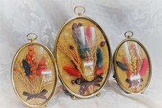 Vintage Framed Dried Flowers in Oval Convex by TheRunningRooster
