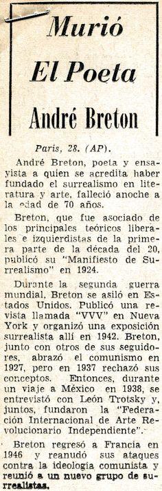 Murió el poeta André Breton, Publicado el 28 de septiembre de 1966.