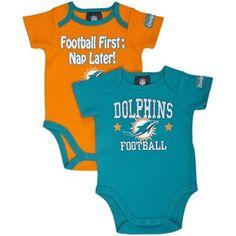 Gerber Miami Dolphins Infant 2-Pack Bodysuit Onesie Set - Aqua/Coral
