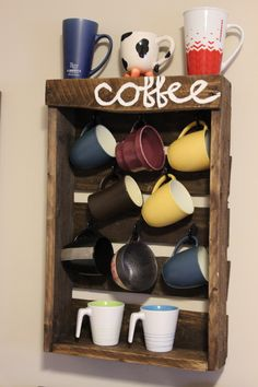 Rustic Pallet Coffee Mug Rack / Holder by RedemptiveRustics on Etsy https://www.etsy.com/listing/222629204/rustic-pallet-coffee-mug-rack-holder