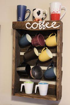Rustic Pallet Coffee Mug Rack / Holder by RedemptiveRustics on Etsy https://www.etsy.com/listing/222629204/rustic-pallet-coffee-mug-rack-holder