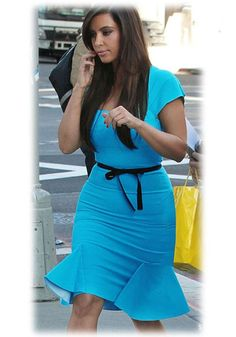 Blue Plain Falbala Sashes Square Neck Dress