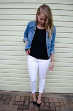 Denim Jacket www.polishedcotton.co.za Lifestyle Blog, White Jeans, Denim, Cotton, Pants, Jackets, Outfits, Fashion, Down Jackets