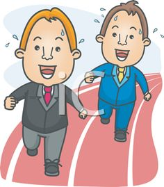 iCLIPART - Royalty Free Clipart Image of Two Guys in Suits on a Racetrack