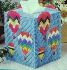 """''Up Away Tissue Box Cover"""" Plastic Canvas Pattern Plastic Canvas Ornaments, Plastic Canvas Tissue Boxes, Plastic Canvas Crafts, Plastic Canvas Patterns, String Crafts, Yarn Crafts, Diy Canvas, Canvas Board, Canvas Ideas"""