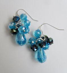 Tantalizing Turquoise Aqua Cascading Crystal by BjeweledVintage, $29.00