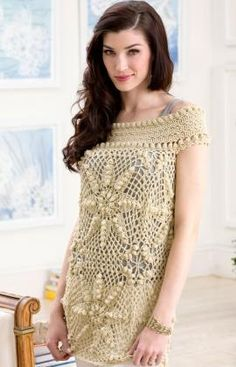 Elizabeth Tunic free crochet pattern  Think I would like this better as an afghan