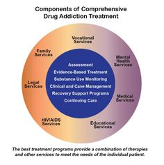 Graphic of components of comprehensive drug addiction treatment with an out and inner circle.