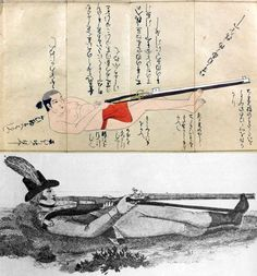 "An illustration from Inatomi-ryu teppo densho (The secrets of shooting with guns of the Inatomi School), 17th century, shown over a very similar European illustration from Ezekial Baker's ""Remarks on Rifle Guns"" (1823) demonstrating the back or supine position."