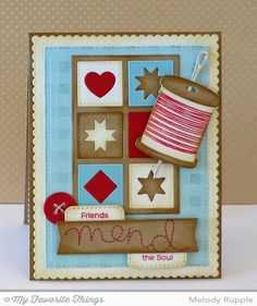 Gingham Background, Stitched with Love stamp set and Die-namics, Blueprints 20 Die-namics, Stitched Rounded Rectangle STAX Die-namics - Melody Rupple #mftstamps