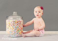 This or candy corn and such in apothecary jars- but those may be too easily tipped over for babies.