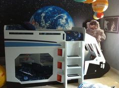 Hamilton's space themed bedroom.Shuttle  bunk bed by Tanglewood Design
