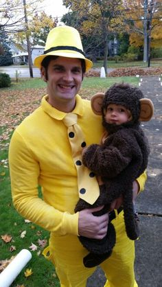 DIY Curious George and the Man with the Yellow Hat Halloween Couple Costume Idea 1