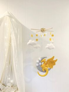 Baby Boy Themes, Nursery Themes, Nursery Ideas, Dragon Mobile, Amber Room, Dragon Nursery, Baby Crib Mobile, Baby Mobiles, Yellow Nursery