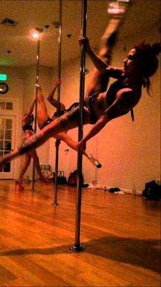 Lindsey Dement teaching Cleo's rock n pole - sweet stuff down low - base of a routine?