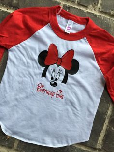 Free Shipping! Child Toddler Disney World Magic Kingdom Minnie Mouse Monogram Red and White Raglan Three Quarter Length sleeves Birthday by SOUTHERNROOTSCOMP on Etsy
