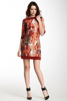 Boatneck Printed Dress