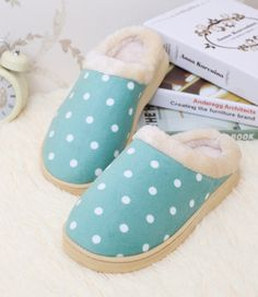 - Cool comfy polka dot house slippers - Keep your feet warm and cozy around the house - Made from cotton - Available in 7 colors