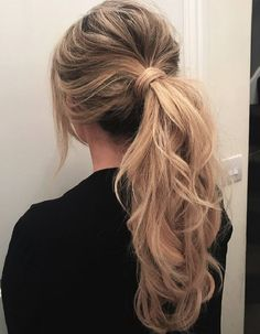Hairstyles boho - 20 Most Easy Messy Ponytail Hairstyles boh. - 20 Most Easy Messy Ponytail Hairstyles boho wedding hair Hair Ponytail Styles, Wedding Ponytail Hairstyles, Fancy Ponytail, Ponytail Updo, Ball Hairstyles, Messy Hairstyles, Short Hair Styles, Formal Ponytail, Messy Ponytail Tutorial
