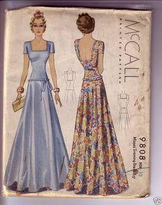 McCall 9808 | ca. 1938 Misses' Evening Dress