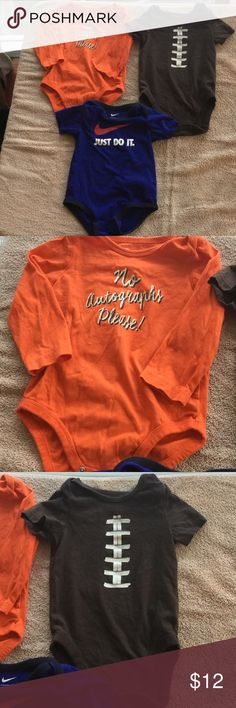 3boys. Onesie 9-12mon Good condition.   Various labels. Orange is jumping Beans brown is the Children place and blue is NIKE Nike One Pieces Bodysuits