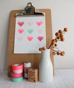 Little Hannah: DIY: lámina con corazones de washi tape