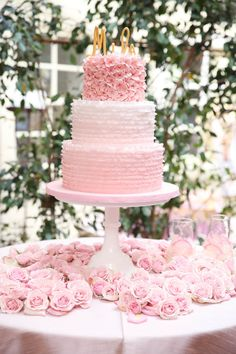 #cake-table, #cake, #rose, #light-pink Photography: Melody Melikian Photography - www.melodymelikianphotoblog.com Read More: http://www.stylemepretty.com/living/2014/03/31/sparkly-pink-baby-shower/