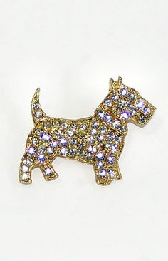 Clear Rhinestone Scotty Dog Brooch--my daughter gave me this pin when she was about 6 years old. She got it shopping with her grandmother.