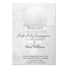 Catholic First Communion Eucharist grey design Invitation   Zazzle.com