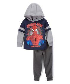 Blue Spider-Man Hooded Pullover & Pants - Toddler #zulily #zulilyfinds