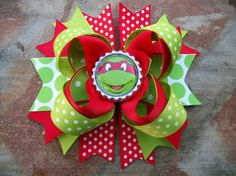 TMNT Teenage Mutant Ninja Turtle Red 5 Inch Stacked Boutique Bow / Birthday Bow on Etsy, $6.99
