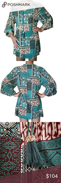 *NEW* Trendy Patterned Cold Shoulder V-neck Tunic Boutique - BRAND NEW without tags. All photos are of the actual item. All photos taken by @wardrobeconcept. Vibrant pattern-blocked Patchwork tunic with cold shoulder slits at the sleeve. Unique braided V-neckline with hanging beaded, bamboo tassels (can be tied). 3/4 length flare/bell sleeves. True to size. Measurements available upon request. No rips, tears, or stains. Please use the offer button for all offers. Feel free to bundle for a…