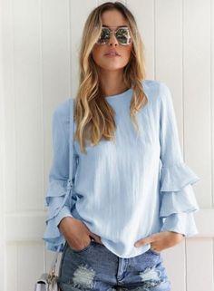 #NewYear #Oasap - #oasap Solid Long Ruffle Sleeve Pullover Blouse - AdoreWe.com