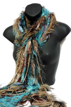 Ribbon and Fibers Knotted Fringe Scarf £16