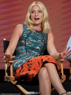 Claire Danes lively in green printed dress while promoting Homeland season six at TCA panel | Daily Mail Online