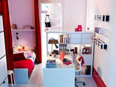 How to arrange furniture in a small, shared space. >> http://www.hgtv.com/design/decorating/design-101/20-chic-and-functional-dorm-room-decorating-ideas-pictures?soc=pinterest