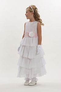 Flower Girl Dress Style 5123- Choice of White or Ivory Crepe Dress with Multi Tiered Skirt with Pink