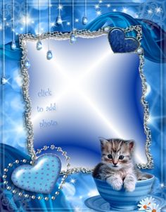 BLUE FRAME WITH KITTY & HEARTS