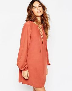 ASOS Pretty Dress with Soft Lace Up Front at asos.com #dress #dressup #women #covetme