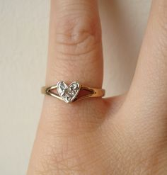 Vintage Diamond Heart Ring, Engagement Ring, Solitaire Diamond Heart 9k Gold Wedding Ring Size US 3. $88.00, via Etsy.