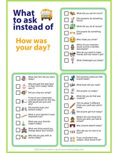 Try these questions to get your kids talking about their school day. Tape them t… Try these questions to get your kids talking about their school day. Tape them to the inside of a cabinet door and pick a couple… Weiterlesen → Parenting Advice, Kids And Parenting, Parenting Classes, Parenting Styles, Positive Parenting Solutions, Foster Parenting, Parenting Quotes, Parenting Websites, Funny Parenting