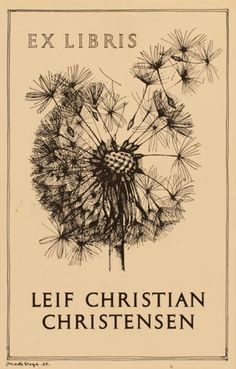 Ex libris by Mads Stage for Leif Christian Christensen, 1964