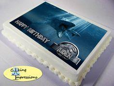 Jurassic World Mosasaurus eating shark Edible Image Cake Topper by CakingImpressions on Etsy https://www.etsy.com/listing/237540257/jurassic-world-mosasaurus-eating-shark