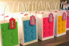 This is my and final post chronicling the fun of Claire& Girly Lego Birthday Party! To make the Lego party favor bags, I used . Lego Party Favors, Lego Themed Party, Lego Birthday Party, 6th Birthday Parties, Party Favor Bags, 4th Birthday, Lego Party Decorations, Birthday Ideas, Goody Bags